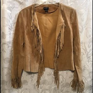 Mix It Tan Suede Fringed Lightweight Jacket